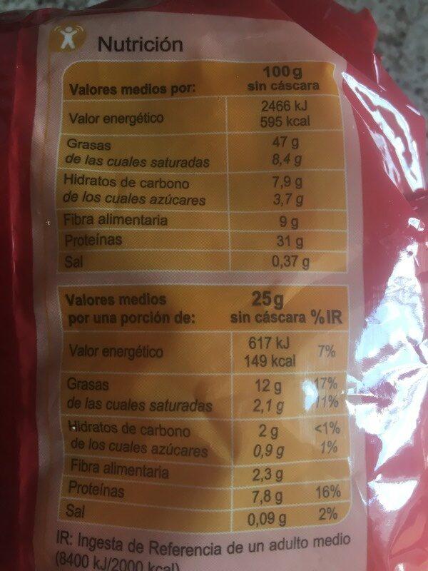 Cacahuetes tostados salados - Información nutricional - es
