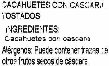 Cacahuetes con cáscara tostados - Ingredientes