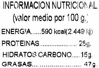 Cacahuetes con cáscara tostados - Información nutricional