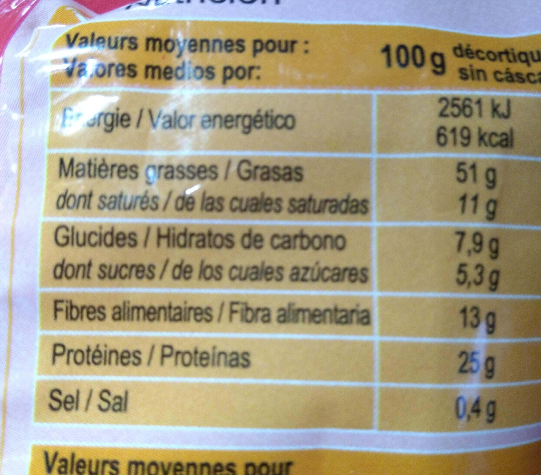 Cacahuetes con cáscara tostados - Valori nutrizionali - fr