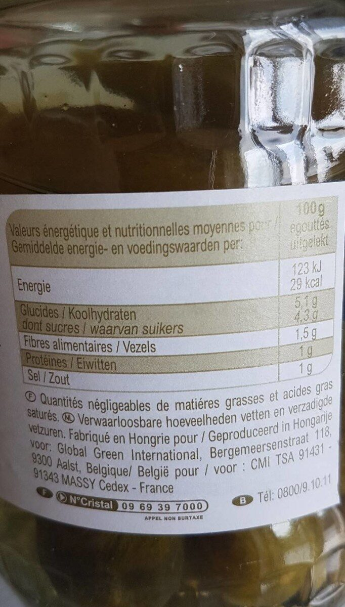 Cornichons - Voedingswaarden - fr
