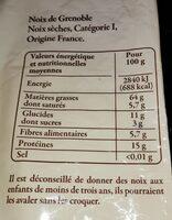 Noix seches de Grenoble - Informations nutritionnelles - fr