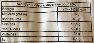 Fines tranches de jambon cru Serrano 11 mois d'âge - Información nutricional
