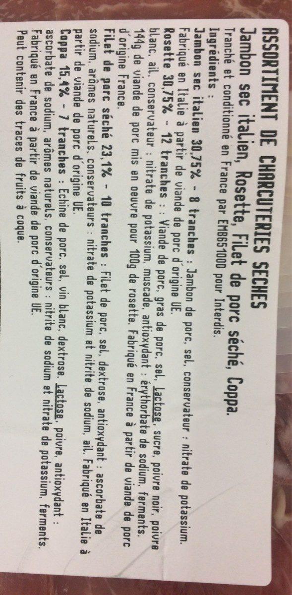 Assortiment de chacuteries seche - Ingredients