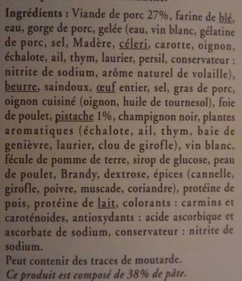 Pâté en croûte supérieur recette du Revermont (aux éclats de pistache) - Ingrédients