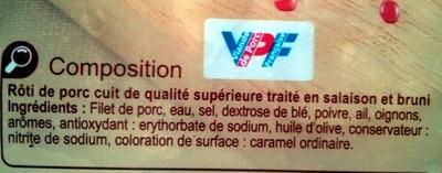 Rôti de porc - Ingrediënten - fr