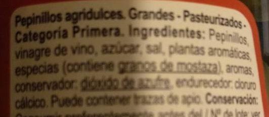 Pepinillo agridulce - Ingredients - es