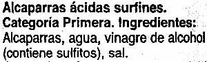 """Alcaparras """"Carrefour"""" - Ingredientes"""