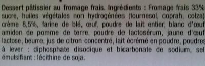 Cheesecake nature sur son biscuit croustillant - Ingrédients - fr