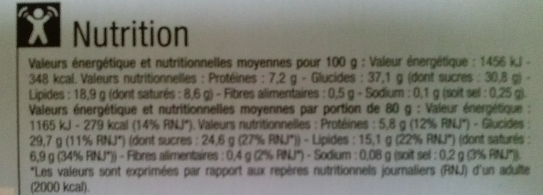 Cheesecake nature sur son biscuit croustillant - Informations nutritionnelles - fr