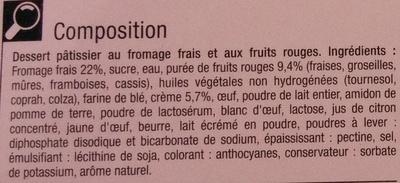 Cheesecake aux fruits rouges sur son biscuit croustillant - Ingredients - fr