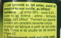 Bifidus saveur Vanille (4 Pots) - Ingredients - fr
