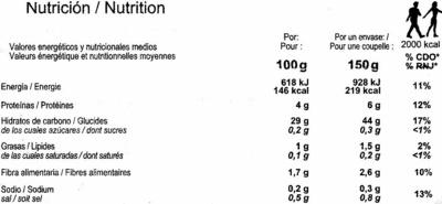 Arroz cocido Basmati - Informació nutricional