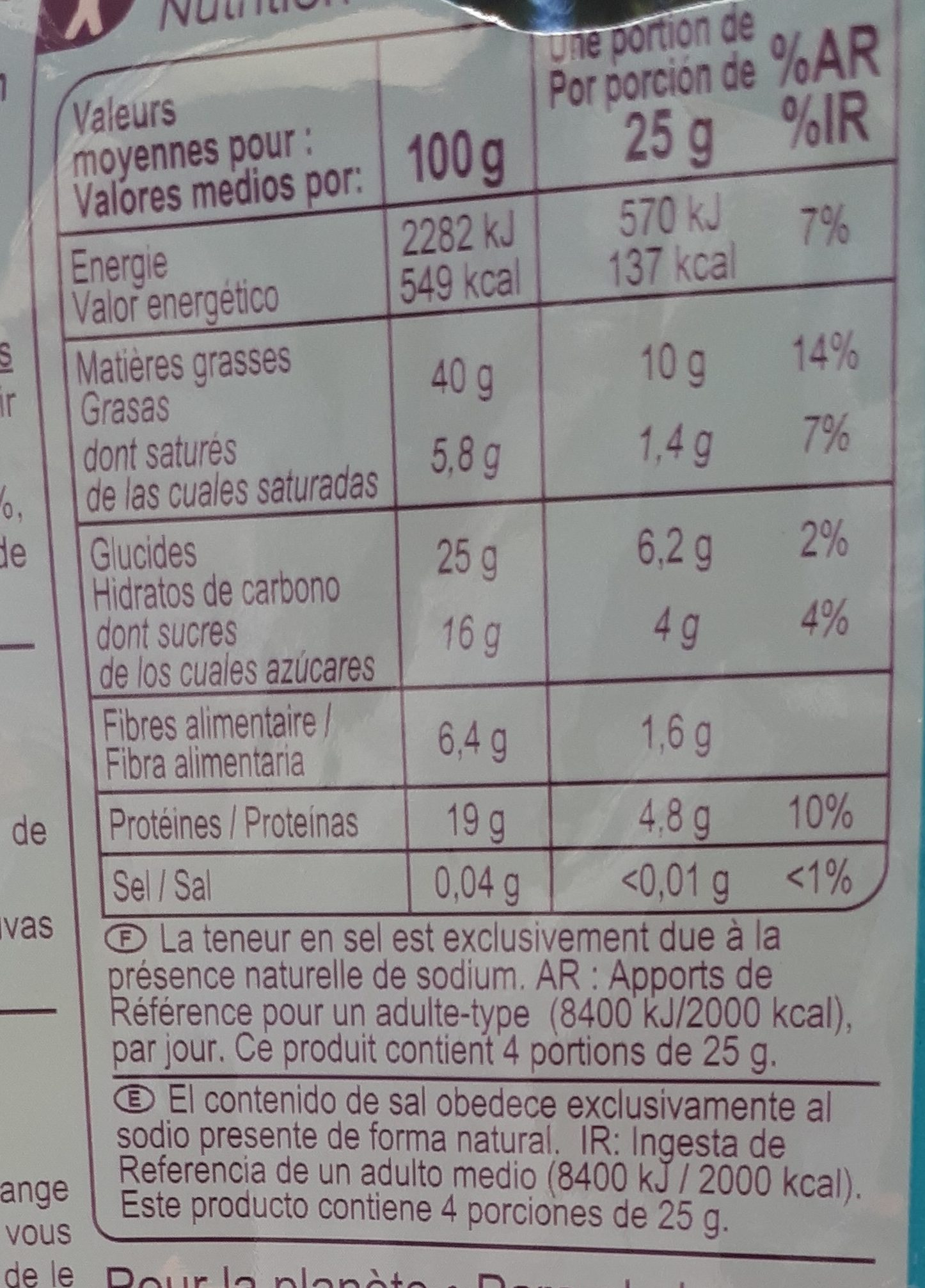 Cocktail Sans Sel Ajouté - Nutrition facts