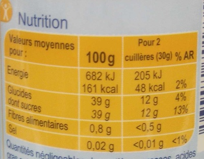 Confiture de cerises -30 % de sucres - Informations nutritionnelles - fr