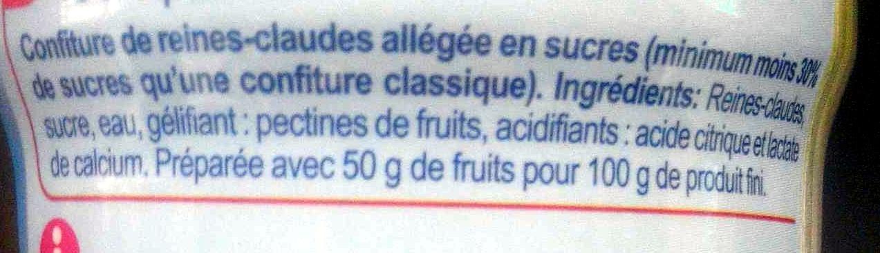 Confiture de reines-claudes -30 % de sucres - Ingrédients - fr