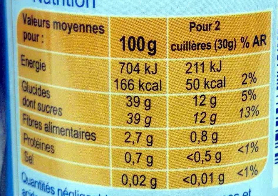 Confiture de framboises -30% de sucre - Informations nutritionnelles - fr