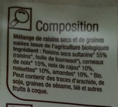 Mélange de raisins secs et de fruits secs bio - Ingredients - fr