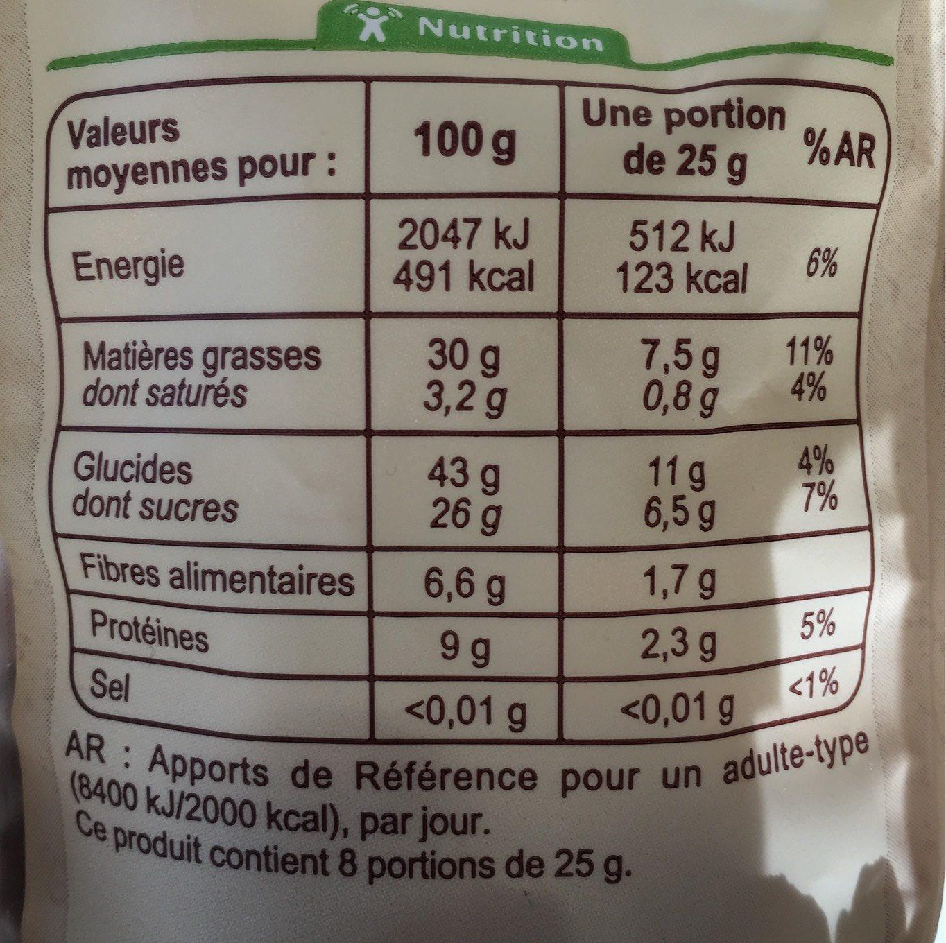 Mélange de raisins secs et de fruits secs bio - Nutrition facts - fr