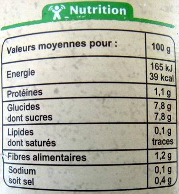 Purée de tomates Fraîches Bio 700 g - Informations nutritionnelles