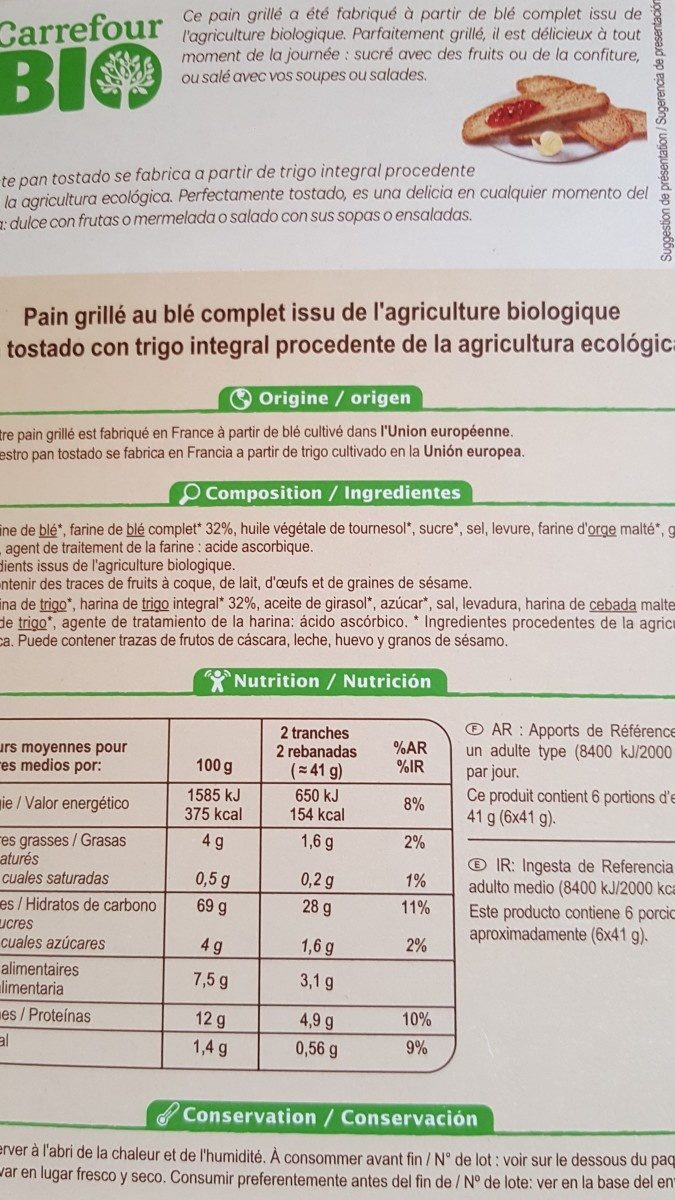 Pain grillé au blé complet bio - Ingredients - fr
