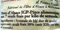 Pâtes d'Alsace IGP  Corolles - Ingredients