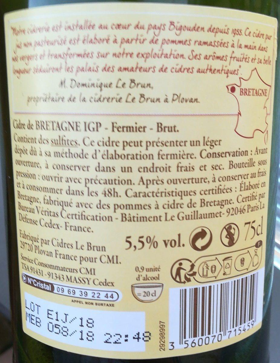 Cidre de Bretagne IGP - Fermier - Brut - Ingredients - en