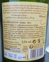 Cidre de Bretagne IGP - Fermier - Brut - Nutrition facts - en