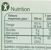 Pur jus d'orange pulpé - Voedingswaarden - fr