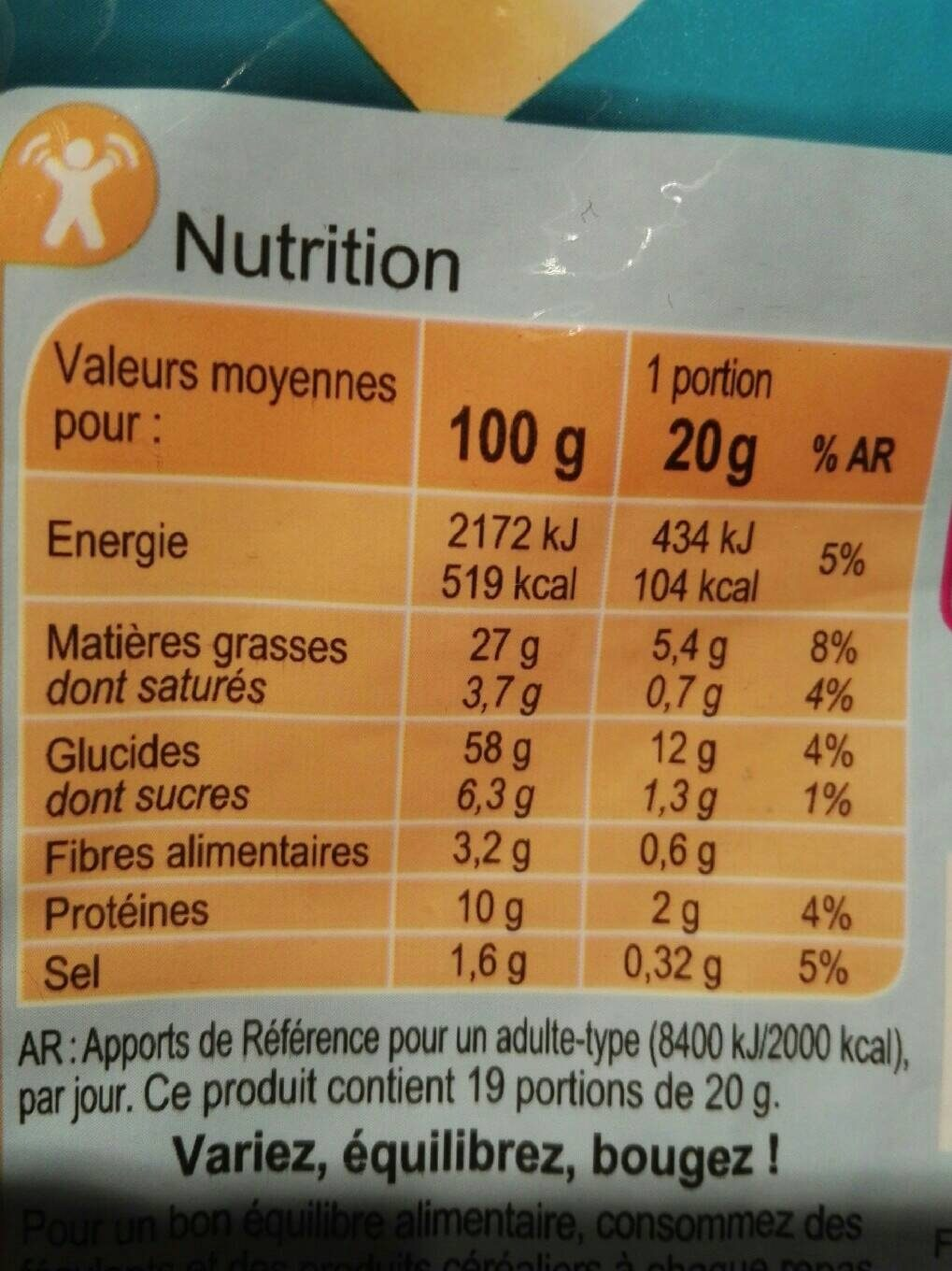 Carrefour coffret crackers - Informations nutritionnelles - fr
