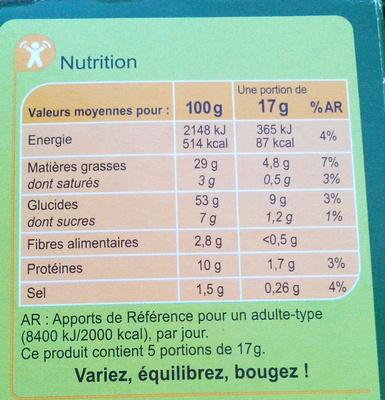Crackers Goût Pizza - Informations nutritionnelles - fr