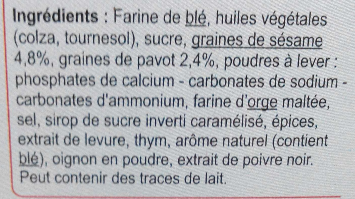 Crackers au sésame & au pavot - Ingredients