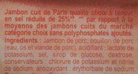 Jambon de Paris réduit en sel de 25 % - Ingrédients