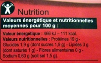 Jambon de Paris - Valori nutrizionali - fr
