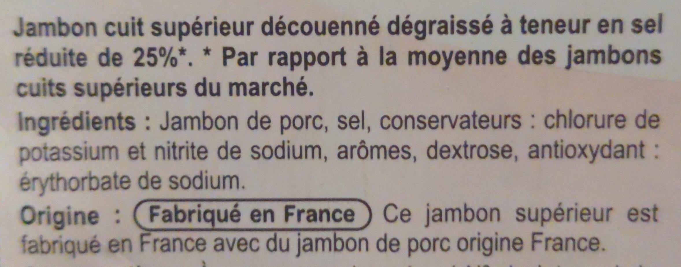Jambon supérieur Sans couenne -25% de sel - Ingrédients - fr