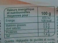 Jambon Supérieur sans couenne réduit en sel de 25 % - Informations nutritionnelles - fr
