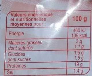 Jambon de Paris - Informations nutritionnelles - fr