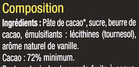 Noir 72% cacao - Ingredienti - fr