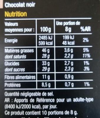 Noir 72% cacao - Valori nutrizionali - fr