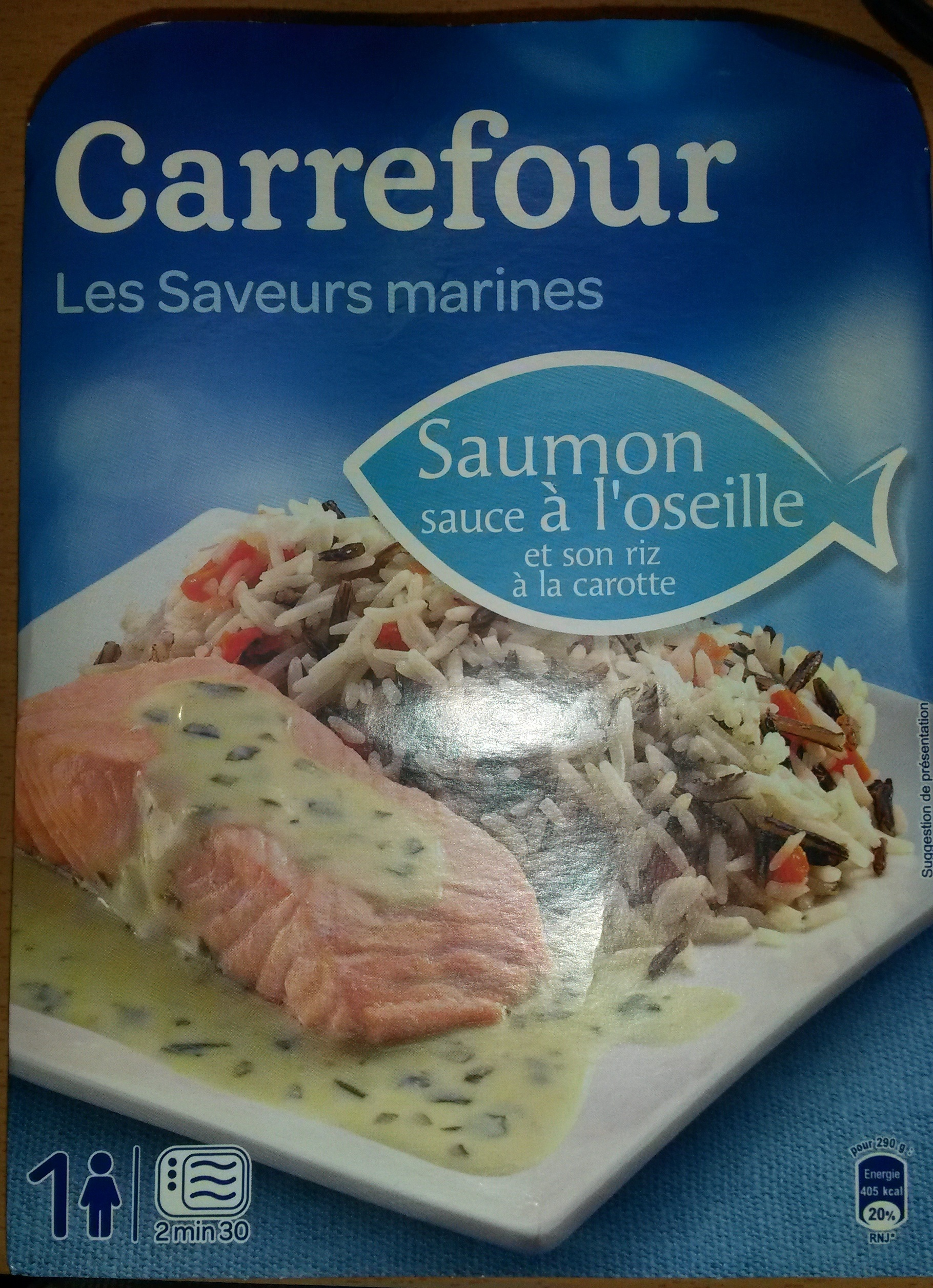 Saumon sauce à l'oseille et son riz à la carotte - Produit - fr