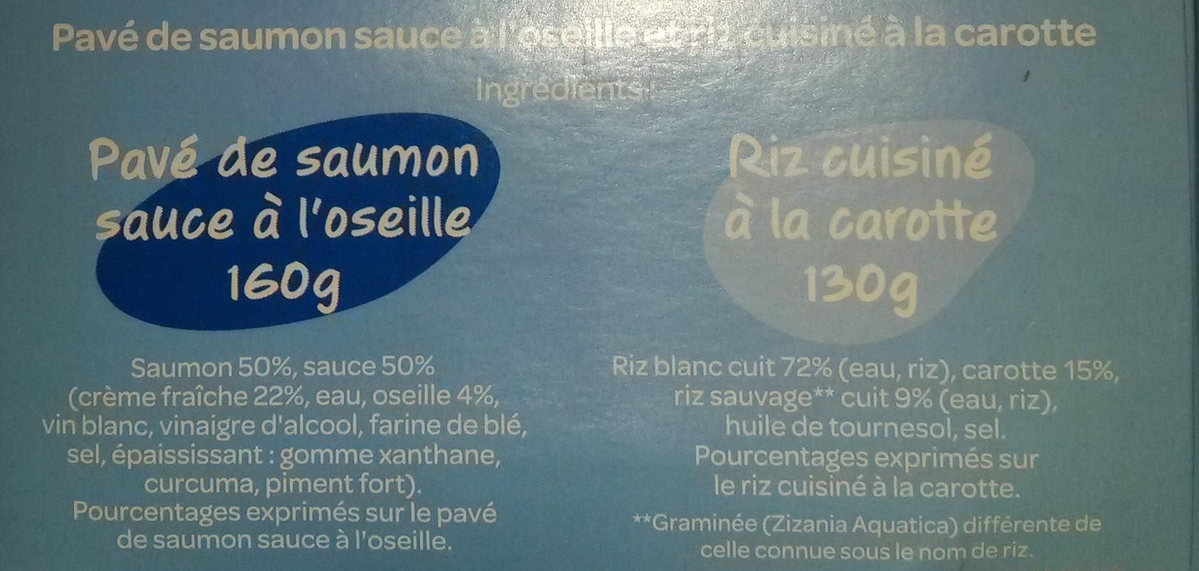 Saumon sauce à l'oseille et son riz à la carotte - Ingrédients - fr