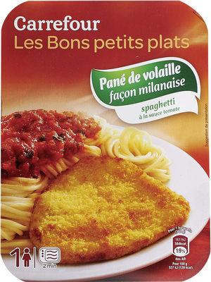 Pané de volaille façon milanaise  spaghetti à la sauce tomate - Produit