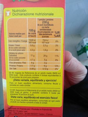 Carrefour Pure' Di Patate - Nutrition facts