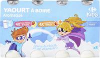 yaourt à boire aromatisé fraise/banane ou pêche abricot source de calcium et vitamine D - Produit