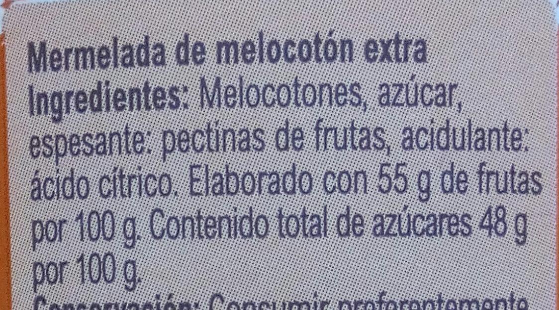 Mermelada Extra melocotón 55% de fruta - Ingredientes