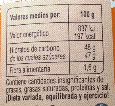 Mermelada Extra melocotón 55% de fruta - Información nutricional