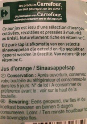 Jus orange Orange du bresil - Ingrédients