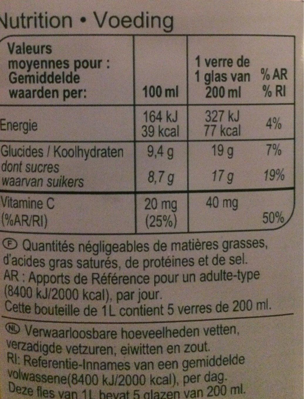 Jus orange Orange du bresil - Informations nutritionnelles