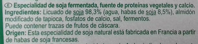 Yaourt Soja  Nature Carrefour - Ingredientes
