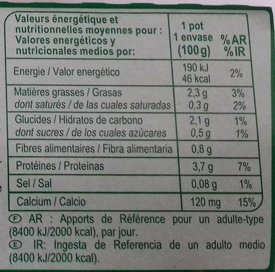 Yaourt Soja  Nature Carrefour - Nutrition facts